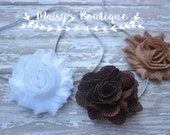 75% Off Set of 3 Brown, Dark Beige and White Headbands / Baby Hair/ Wedding/ Photo Prop