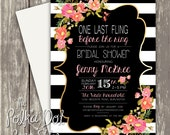 Fun and Fashionable Striped Bridal Shower Invitation with Mixed Typography - Custom Colours!