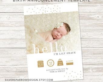 Gold Birth Announcement, Hello, One-sided, Digital File, Modern Baby Announcement, Baby Girl, Baby Boy, Custom Design