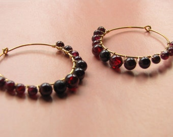 Garnet Hoop Earrings in Gold -- Large Red Hoops -- Wire Wrap Hoop Earrings