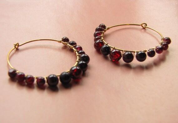 Garnet Hoop Earrings in Gold -- Large Red Hoops -- Wire Wrap Hoop Earrings