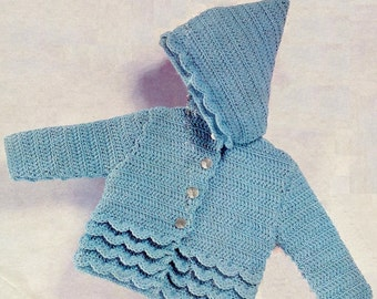 Baby DK 8ply Light Worsted Hooded Jacket / Sweater for sizes 18 - 20 ins  PDF of Vintage Crochet Patterns - Instant Download