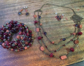 4 Piece Deep Red Necklace, Bracelet, and Earring Set