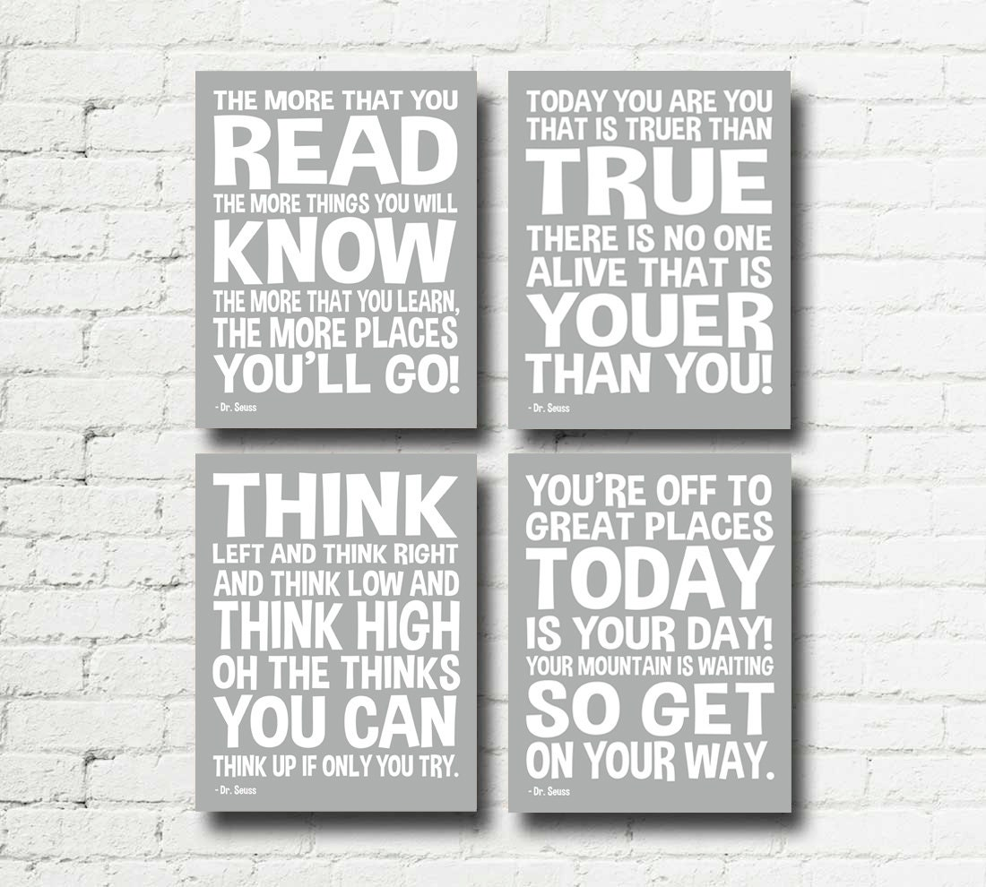Dr Seuss Quotes Set Of 4 Printable Digital Wall Art Word Art
