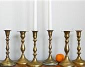 Set Vintage Brass Candle Holder Set Rustic Tableware Wedding Table Decor Boho Chic Decor