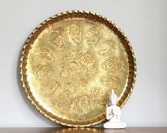 Vintage Brass Tray Round Brass Decorative Persian Turkish Cosmopolitan Chic Decor