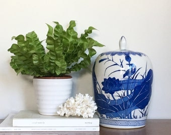 Vintage Blue White Chinoiserie Ginger Jar Potiche Jar Chinese Asian Chic Decor