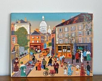 Vintage Paris Oil Painting Original Signed French Souvenir Painting Place du Tertre Monmartre Street Scene Paris Art