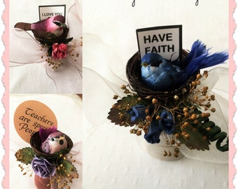 Miniature Floral Arrangement, Small Dried Flower Designs, Floral and Bird and nest Inspirational Designs