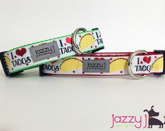 White I Love Tacos Mexican Dog Collar