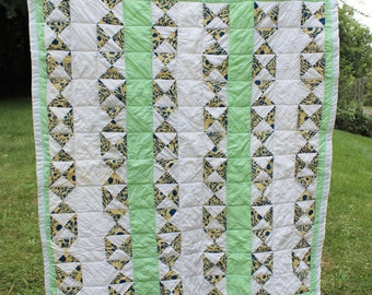 Quilt- Throw / Crib /Toddler Size- Hand Made Patchwork- Vintage/ Antique- Lime Green, White, Yellow, Navy- Flying Geese Pattern-  49 x 60