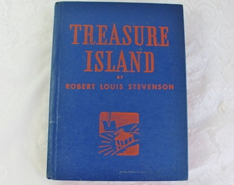 Treasure Island Antique Book- Blue Hardcover Art Deco Early 1900's publishing by Whitman- Robert Louis Stevenson- Beautiful condition