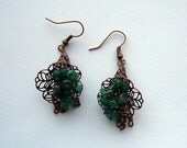 Forest Lilies Copper and Jade Floral Earrings