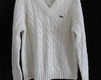 Vintage Izod Lacoste Acrylic Retor Mod Hipster Cable PREPPY Tennis Sweater L