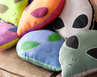 Choose Your Large Alien Head Pillow / Alien Plushie / 6 Different Colors
