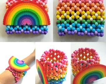 Rainbow X-cuff Perler Kandi Cuff - Rave - Festival - Ready to ship