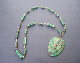 Unique Artisan Ceramic Tribal Style Pendant Necklace c 1970s