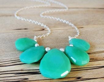 Chrysoprase & Silver Necklace - Statement Gemstone Necklace - Sterling Silver