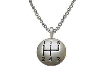 Matte Gear Shift Pendant Necklace