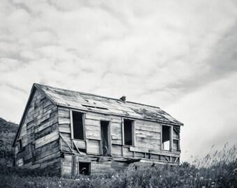 Alaska Landscape Photography, Modern, Unga, Abandoned, House, Alaska Photo, Fine Art Photography Print, Black & White Modern Deco
