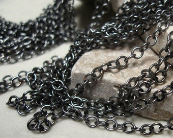 Small Oval Link Cable Chain in Pewter.  6 ft.