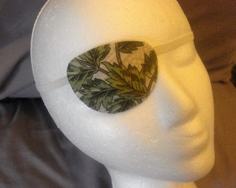 "Woman's handmade eye patch, ""Evergreen"" made with 100% cotton - one size fits all"
