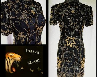 Vtg Black and Gold Silk Beaded Short Trophy Dress - Nehru Asian Neckline - Art Deco Gatsby Dress - 80s does 20s Beaded Dress - XS Small Med