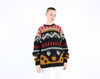 Abstract 80s MOHAIR + WOOL Super Oversized Slouchy Novelty Geometric Knit Sweater Dress