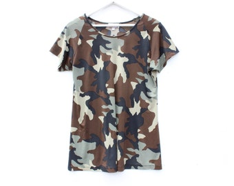 90s Slinky Camo Camouflage Marques Almeida Style Scoop Neck T Shirt / Tee Dress