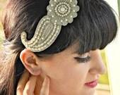 Pearl Head piece , Hair accessories, Wedding tiara, Bridal crown, Silver headband,Bridal Hair accessories , Bridal head piece Gatsby Wedding