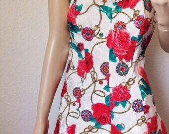 ON SALE Vintage Rose and Rope Nightie with Low Back - LA Intimates - Medium