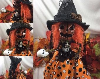 Wicked Wendy ooak Pumpkin doll.