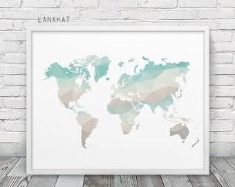 World Map Geometric Print. Mint Beige Triangles Print World Map Teal Pastel Geometric Art. Modern Wall Art Home Office Decor. Printable Art