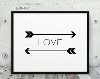 Love Print. Chevron Arrows Print Black & White Art Print. Love Art Love Typography Print. Minimalist Modern Art Home Office Decor. Printable