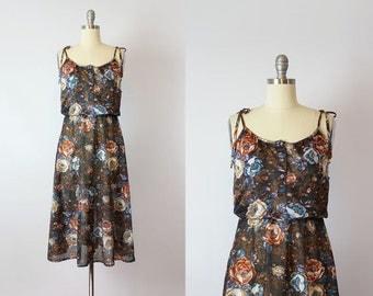 vintage 70s dress / 1970s sheer floral dress / brown dark floral dress / chiffon floral dress / tie shoulder dress / Cimarron dress