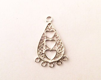 Sterling Silver Heart Tear Drop Shaped Bali Chandelier Earrings