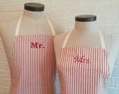 Red Stripe Mr & Mrs Apron Set with Pocket FREE SHIPPING - Husband and Wife, Brick Red and Cream Ivory Stripe, Wedding Shower Gift