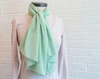 Sheer Green Scarf, Rectangle Scarf, FREE Shipping, Breezy Scarf, Made in USA