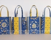 Reserve Listing Small Fabric Gift Bags - French Provencal Gift Totes - Specialty Gift Wrap - Blue & Yellow - Eco Friendly Reusable Gift Wrap