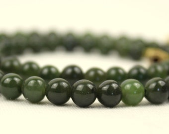 6mm Jade Necklace. 6 mm Jade Beads. Green Jade. Various Lengths. MapenziGems