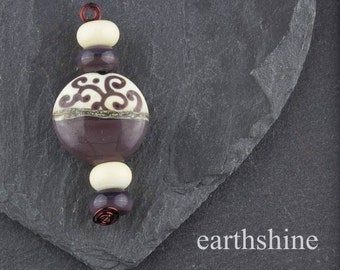 Coffee and Cream lampwork glass bead and matching spacers
