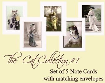 Cat Collection 1, Cat Note Cards, Cat Card Set, Vintage Cat, Anthropomorphic, Unique Cat Cards, Whimsical Cat Cards