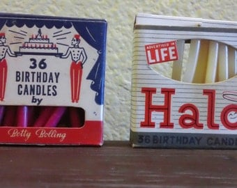 Vintage 1940's Birthday Anniversary Holiday Candle Candles Halo Betty Bolling