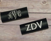 Personalized luggage handle wrap set; monogrammed luggage tag; luggage identification tag
