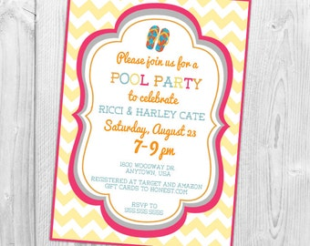Pool party baby shower invitation, Baby Shower, Flip flops