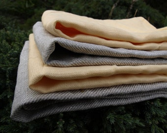 Linen Kitchen Towels Set of 4 Organic Linen Natural Grey and Pale Yellow Washed Vintage Look