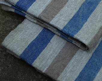 """Linen Kitchen Towels Set of 2 16 1/2""""x26"""" Natural Grey, Blue and Taupe Brown Stripped Washed Wrinkled"""