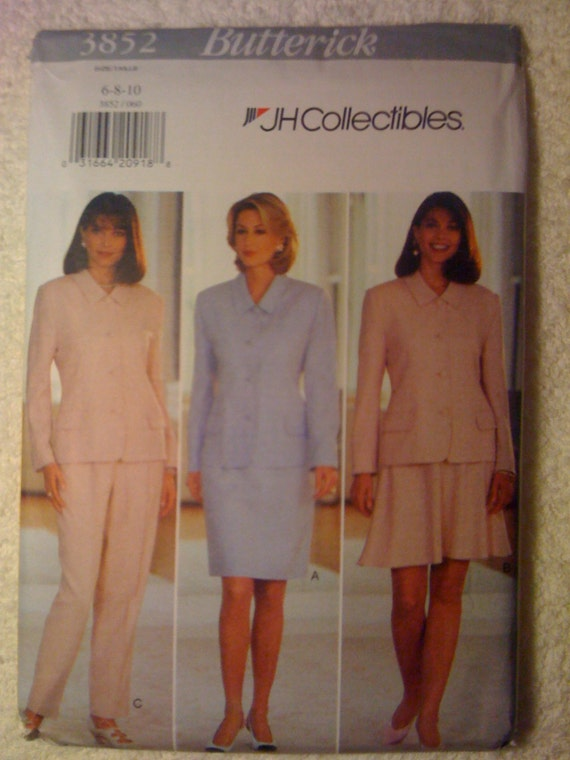 Business Jacket, Skirt and Pants Butterick Sewing Pattern 3852 90s Uncut Misse/Miss Petite Size 6-8-10