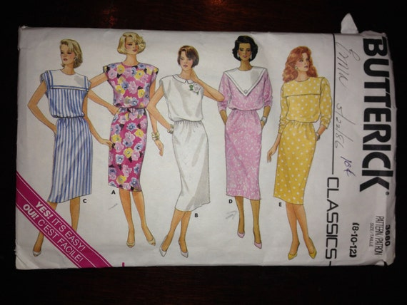 Butterick Classics 3680 Sewing Pattern 80s Misses Dresses Size 8-12