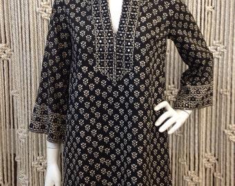 Amazing 1970's mirror inlay bohemian ethnic batik tunic dress